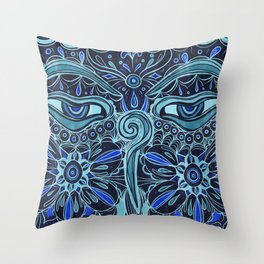 The Eyes of Buddha Throw Pillow