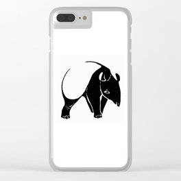 Bold Graphic Art Animal Design Totally Tapir Black & White Clear iPhone Case