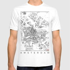 Amsterdam Map Schwarzplan Only Buildings MEDIUM White Mens Fitted Tee