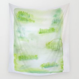 Misty Green Trees Wall Tapestry