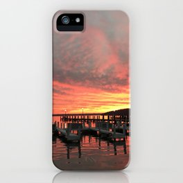 Sunset over the docks iPhone Case