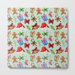 Teal red green floral Christmas pattern Metal Print