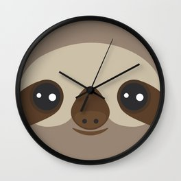 funny and cute smiling Three-toed sloth on brown background Wall Clock