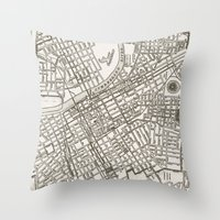 nashville Throw Pillows featuring Nashville Map by Zeke Tucker