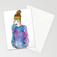 Fashion Illustration - Girl with a Sweater Stationery Cards