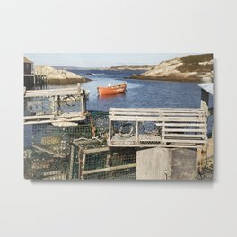 Boat and Lobster Traps Metal Print