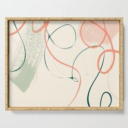 the dance 3 - minimal line art brush stroke Serving Tray