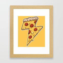 Thunder Cheesy Pizza Framed Art Print