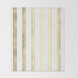 Simply luxury Gold small stripes on clear white - vertical pattern Throw Blanket