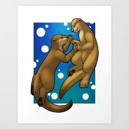 Otters In Love Art Print