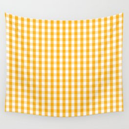Pale Pumpkin Orange and White Halloween Gingham Check Wall Tapestry