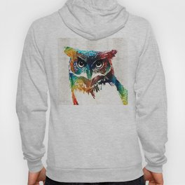 Colorful Owl Art - Wise Guy - By Sharon Cummings Hoody