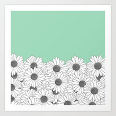 Daisy Boarder Mint Art Print