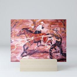 Breaking in a Horse, Australia          by Kay Lipton Mini Art Print