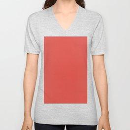 Solid Color Fiesta Red Pantone Simple Modern Unisex V-Neck