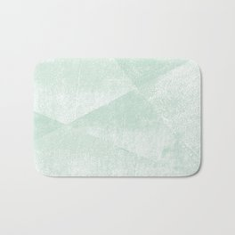 Mint Green and White Geometric Triangles Lino-Textured Print Bath Mat