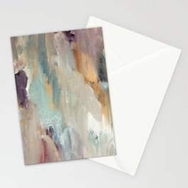 Gentle Beauty [4] - an elegant acrylic piece in deep purple, red, gold, and white Stationery Cards