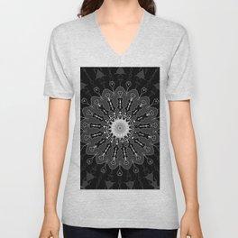 Black and White Floral Spiral Digital Art Unisex V-Neck