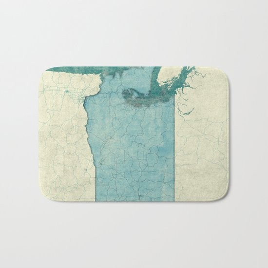 Washington State Map Blue Vintage Bath Mat