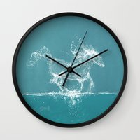 horse Wall Clocks featuring The Water Horse by Paula Belle Flores