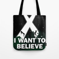 i want to believe Tote Bags featuring I want to believe by BomDesignz