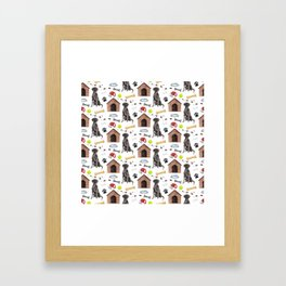 Labrador Retriever Black Half Drop Repeat Pattern Framed Art Print