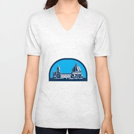 Dome of Florence Cathedral Retro Woodcut Unisex V-Neck