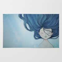 little mermaid Area & Throw Rugs featuring Little Mermaid by Grazia Vincoletto