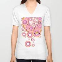 donuts V-neck T-shirts featuring Donuts by Ilya Konyukhov
