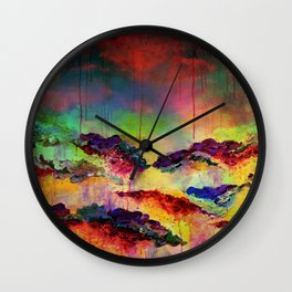 IT'S A ROSE COLORED LIFE 4 - Deep Red Colorful Floral Garden Abstract Crimson Green Painting Wall Clock