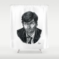 david tennant Shower Curtains featuring David Tennant as Broadchurch's Alec Hardy (or Gracepoint's Emmett Carver) (Graphite) Portrait  by ieIndigoEast