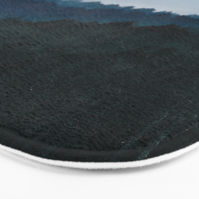 Misty Dark Blue Green Forest Bath Mat
