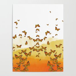Monarch Butterflies on Watercolor Ombre Background Poster