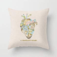 A Traveler's Heart Throw Pillow