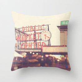 Seattle Pike Place Public Market photograph, 620 Throw Pillow