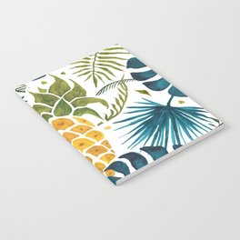 Golden pineapple on palm leaves foliage Notebook