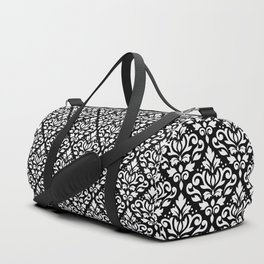 Scroll Damask Big Pattern White on Black Duffle Bag