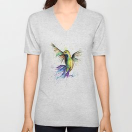 Humming Bird - Ribbons Unisex V-Neck