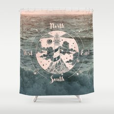Compass Sunset Sea Dreams Shower Curtain