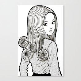 Kirie Goshima Spiral Hair - Uzumaki  (Junji Ito) Canvas Print