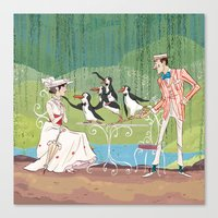 mary poppins Canvas Prints featuring Mary Poppins by Lesley Vamos