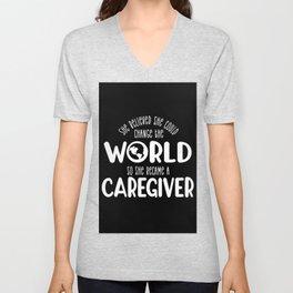 Caregiver, Care giver aid design Unisex V-Neck