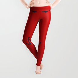 Navy Sailor Anchor Pattern Blue And Red Leggings