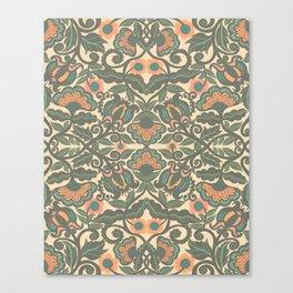 Green Vines Folk Art Flowers Pattern Canvas Print