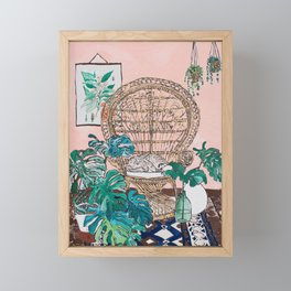 Napping Tabby Cat in Cane Peacock Chair in Tropical Jungle Room Framed Mini Art Print