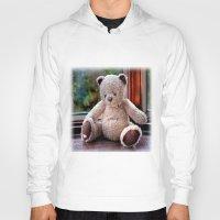teddy bear Hoodies featuring Teddy Bear  by Fran Walding