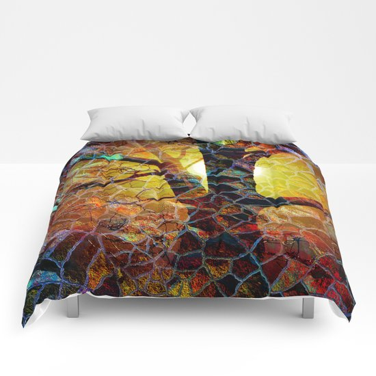 Abstract Glass Mosaic Tree  Comforters