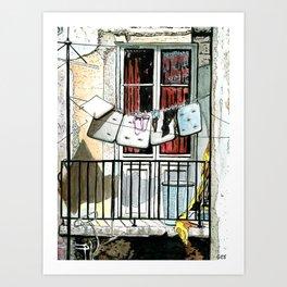 Laundry on Rua da Guia, Lisbon Art Print