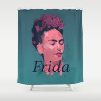 art history Shower Curtains featuring Frida Kahlo - History of Art by RJ Artworks