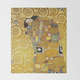 The Embrace - Gustav Klimt Throw Blanket
